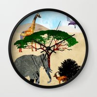 safari Wall Clocks featuring Safari by Design4u Studio