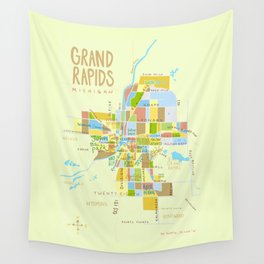 Illustrated Grand Rapids Map Wall Tapestry