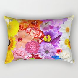 Rainbow Digital Floral Rectangular Pillow