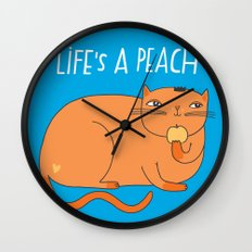 Life's A Peach When You're Orange Wall Clock