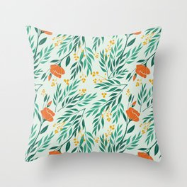 Tropical Flower and Leaves Pattern Throw Pillow