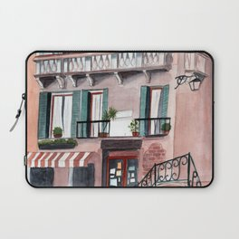 Italy coffee shop watercolor Laptop Sleeve