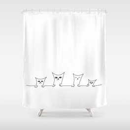 4 Cats on a Line #001 by clodyCats Shower Curtain