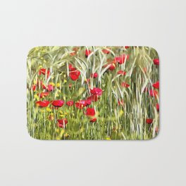 Red Corn Poppies Bath Mat