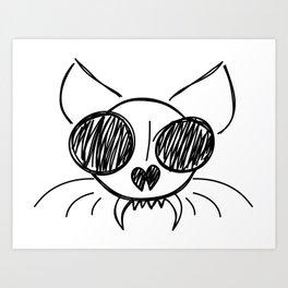 Cool Cat Sketch Art Print