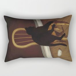 Black Cat on a Chair - Andrew L. von Wittkamp 1850-1875 Rectangular Pillow