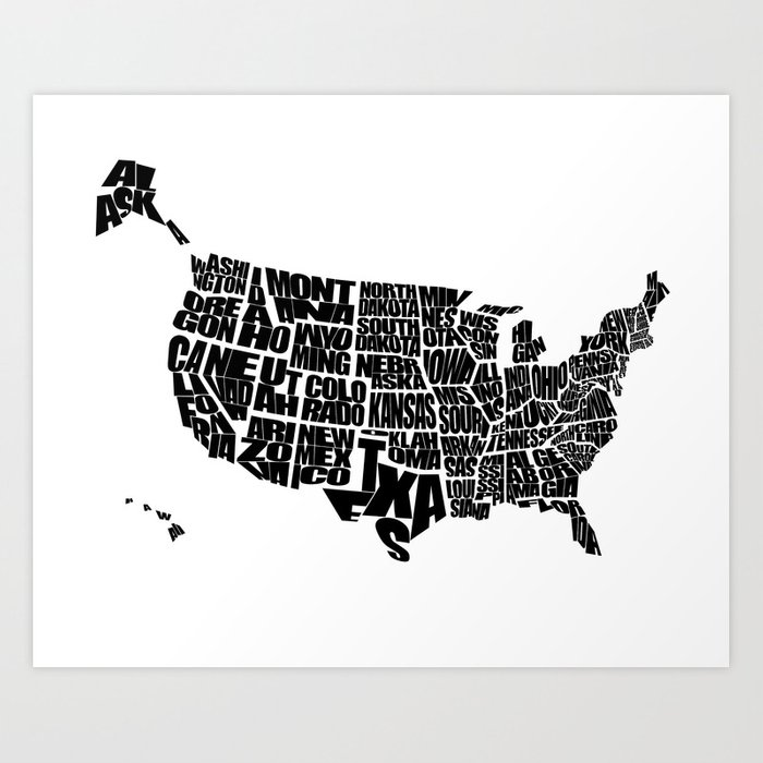 USA Word Map Black And White Art Print By Inkofmegraphics Society - Black and white usa map