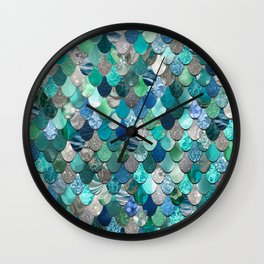 Mermaid Pattern, Sea,Teal, Mint, Aqua, Blue Wall Clock