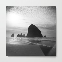 Haystack Rock in Black and White - Cannon Beach, Oregon Film Photo Metal Print