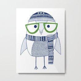 Hipster owl - green glasses Metal Print