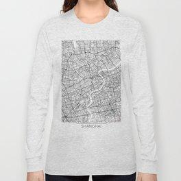 Shanghai Map White Long Sleeve T-shirt