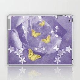 Secret Garden with Gold Butterflies in Ultraviolet Laptop & iPad Skin