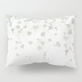 Soft Gray Green and White Trailing Ivy Leaf Print Pillow Sham