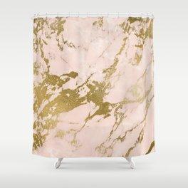 Champagne Blush Marble Shower Curtain