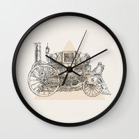 steam punk Wall Clocks featuring Steam punk carriage by Bakani