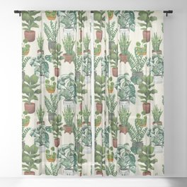 House Plants Collection Sheer Curtain