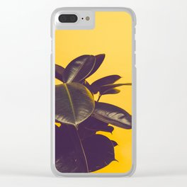 Mid Century Modern Yellow Background Color Pop Minimalist Plant Leaves Clear iPhone Case