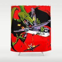 kaiju Shower Curtains featuring Kaiju Attack by sasha alexandre keen