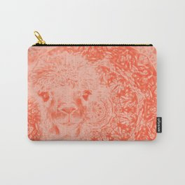 Ghostly alpaca and mandala in Fiesta Red Carry-All Pouch