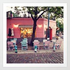 Pastel Cafe Art Print