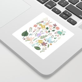 Springtime In The Bunny Garden Of Floral Delights Sticker