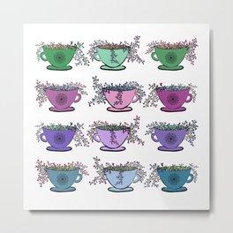 Colorful Tea Leaves Pattern Metal Print
