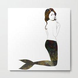 Marble Mermaid Metal Print