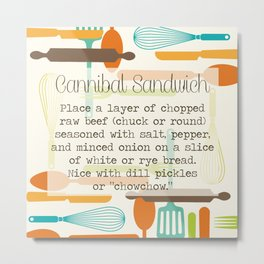"Vintage Recipe Collection - ""Cannibal Sandwich"" - Yes, this was a real, published #recipe Metal Print"