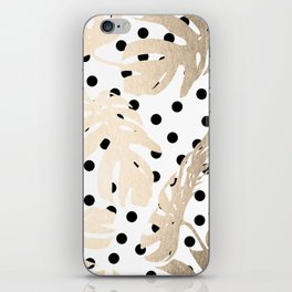Simply Tropical White Gold Sands Palm Leaves on Dots iPhone Skin
