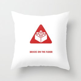 Blocks Games Plaything Toy Building Builders Playtoy Caution Brick On The Floor Gift Throw Pillow