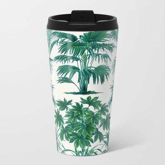 Exotic Tropical Palm Print Metal Travel Mug