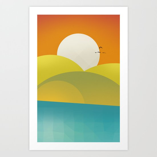 Chilaxing autumn on seaside Art Print