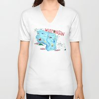 wisconsin V-neck T-shirts featuring WISCONSIN by Christiane Engel
