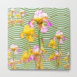 White-Pink  yellow Iris Wave Art Metal Print