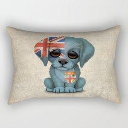 Cute Puppy Dog with flag of Fiji Rectangular Pillow