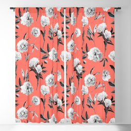 Peonies Mono Coral Blackout Curtain