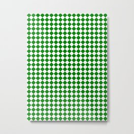 Small Diamonds - White and Green Metal Print