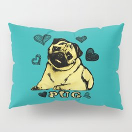 Adorable Puppy Pug on teal with hearts Pillow Sham