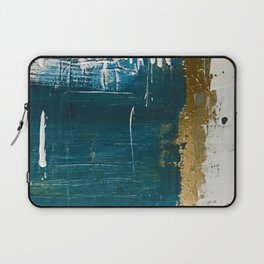 Rain [3]: a minimal, abstract mixed-media piece in blues, white, and gold by Alyssa Hamilton Art Laptop Sleeve