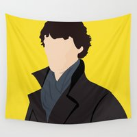 sherlock Wall Tapestries featuring Sherlock by Jessica Slater Design & Illustration