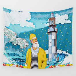 Sailorman and lighthouse Wall Tapestry