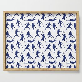 Blue Baseball Players Serving Tray