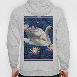 Swans & Peach Water Lilies Art Hoody