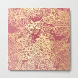 Pink and Gold Mandala Doodle Patterns Metal Print