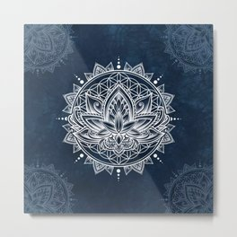 Lotus Mandala (white) Metal Print