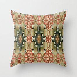 Orange Red Olive Green Native American Indian Mosaic Pattern Throw Pillow