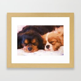 Sleeping Buddies Cavalier King Charles Spaniels Framed Art Print
