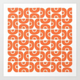 Groovy Mid Century Modern Pattern Orange Art Print