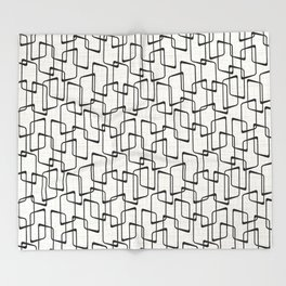 Black Retro Rounded Rectangles Geometric Pattern Throw Blanket