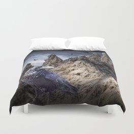 Gothic Sand Castle Towers and Black Ravens Duvet Cover